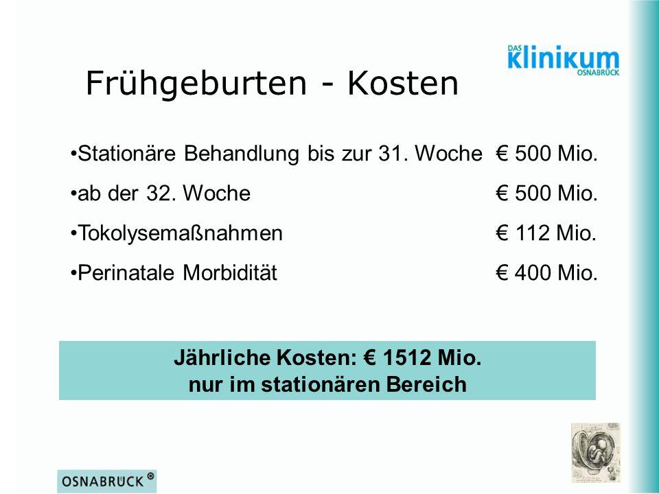 Jährliche Kosten: € 1512 Mio. nur im stationären Bereich