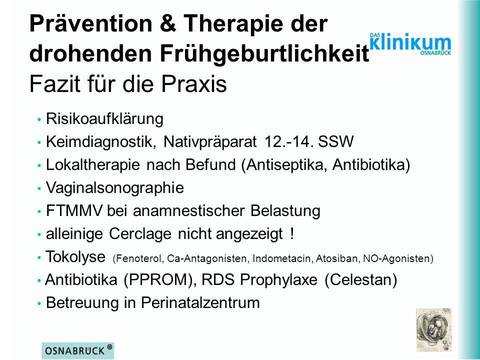 Prävention & Therapie der drohenden Frühgeburtlichkeit