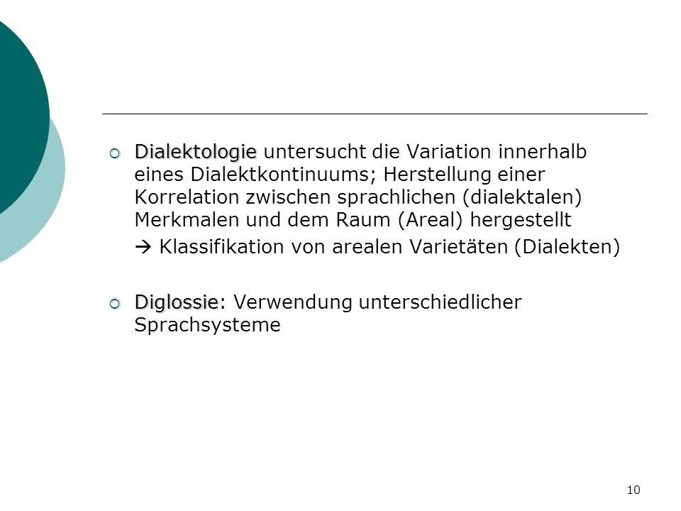 Dialektologie untersucht die Variation innerhalb eines Dialektkontinuums; Herstellung einer Korrelation zwischen sprachlichen (dialektalen) Merkmalen und dem Raum (Areal) hergestellt