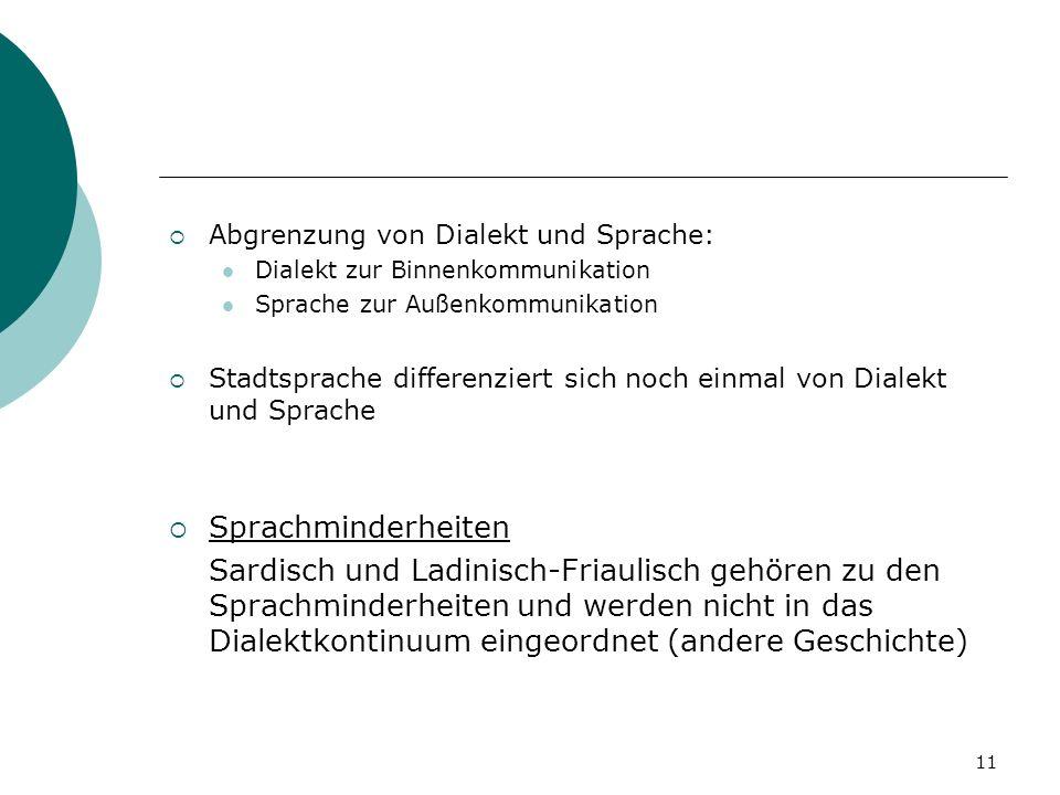 Abgrenzung von Dialekt und Sprache: