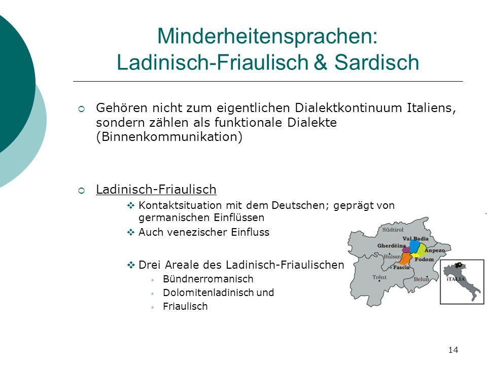 Minderheitensprachen: Ladinisch-Friaulisch & Sardisch