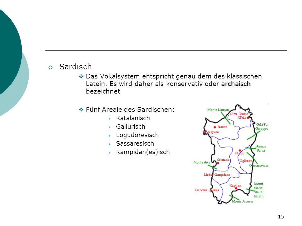 Sardisch Das Vokalsystem entspricht genau dem des klassischen Latein. Es wird daher als konservativ oder archaisch bezeichnet.