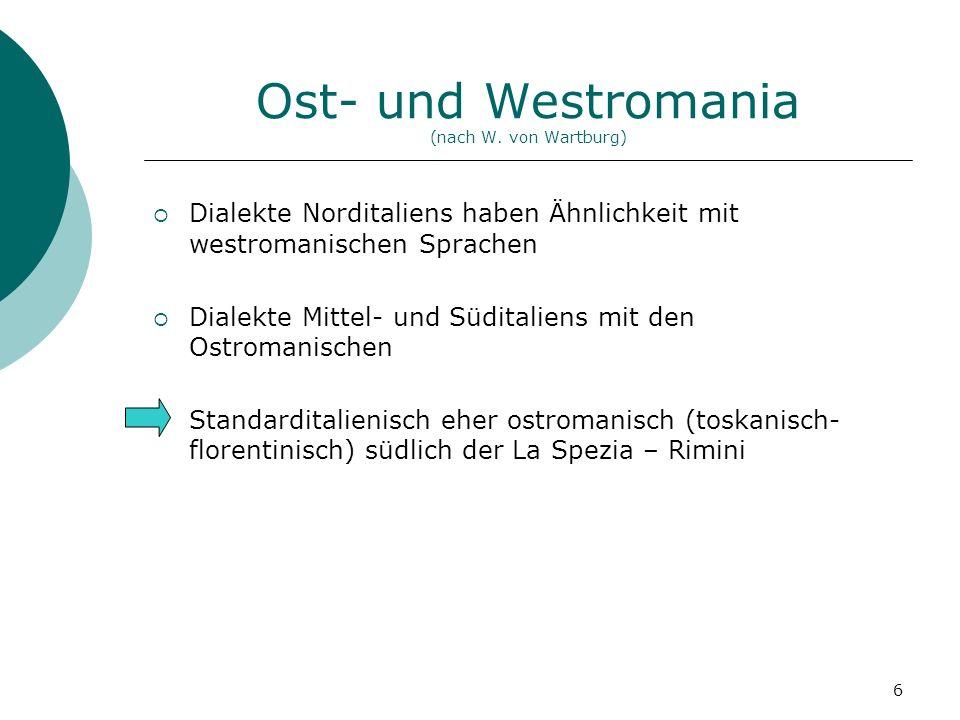 Ost- und Westromania (nach W. von Wartburg)