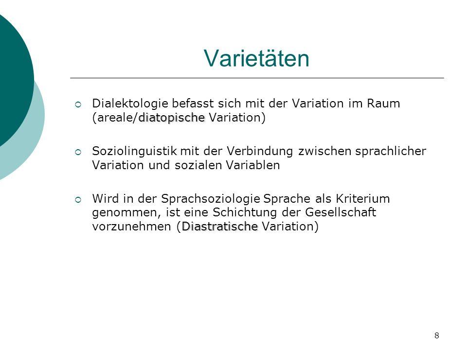 Varietäten Dialektologie befasst sich mit der Variation im Raum (areale/diatopische Variation)