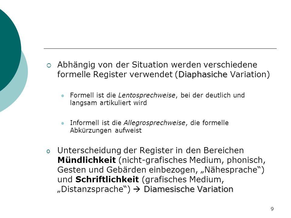 Abhängig von der Situation werden verschiedene formelle Register verwendet (Diaphasiche Variation)