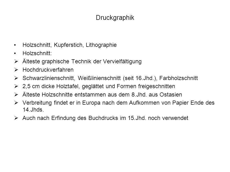 Druckgraphik Holzschnitt, Kupferstich, Lithographie Holzschnitt:
