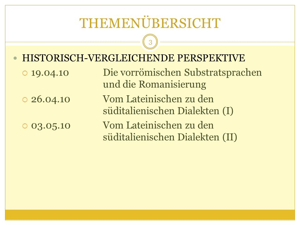 THEMENÜBERSICHT HISTORISCH-VERGLEICHENDE PERSPEKTIVE