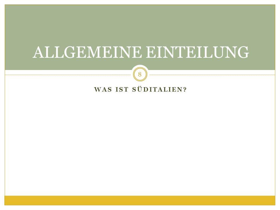 ALLGEMEINE EINTEILUNG