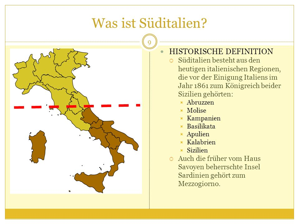 Was ist Süditalien HISTORISCHE DEFINITION