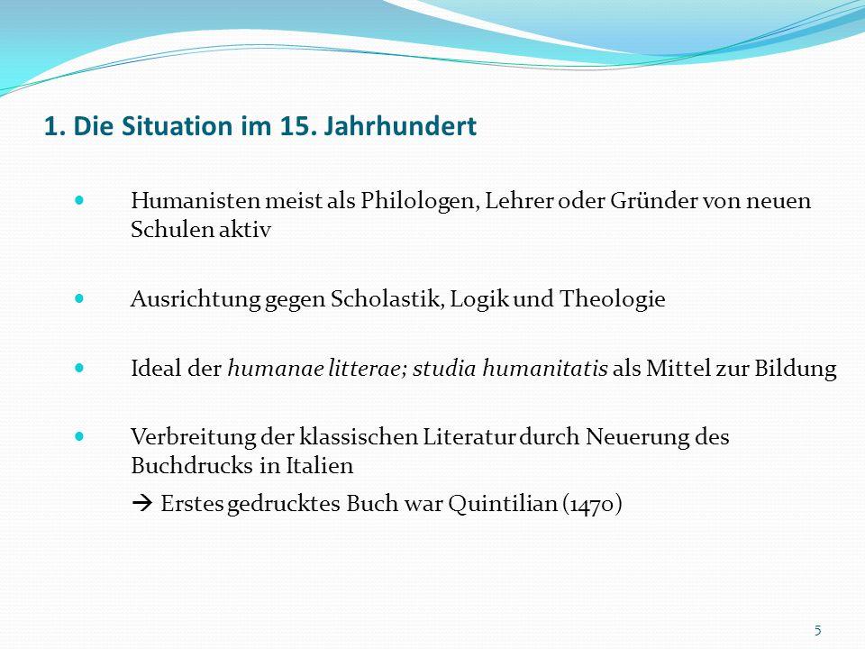 1. Die Situation im 15. Jahrhundert