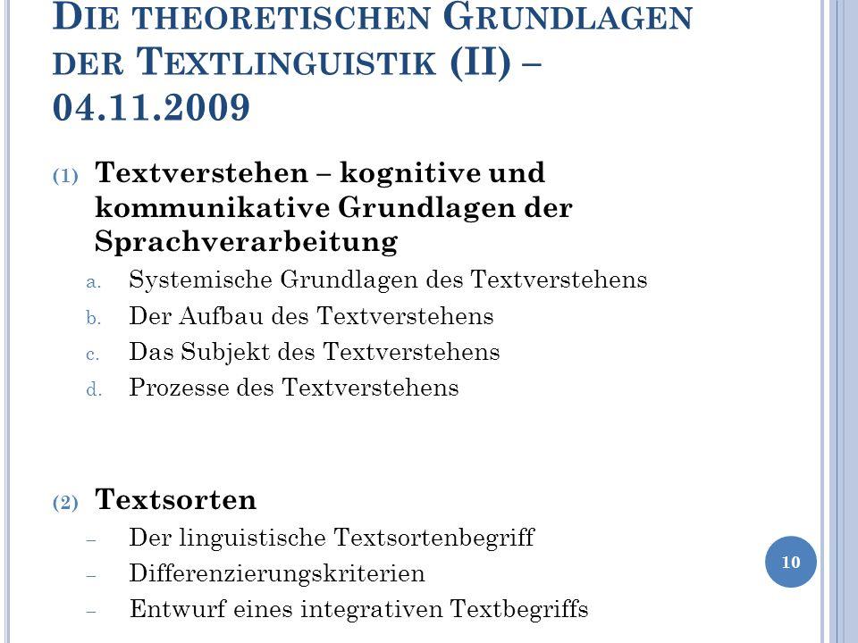 Die theoretischen Grundlagen der Textlinguistik (II) – 04.11.2009