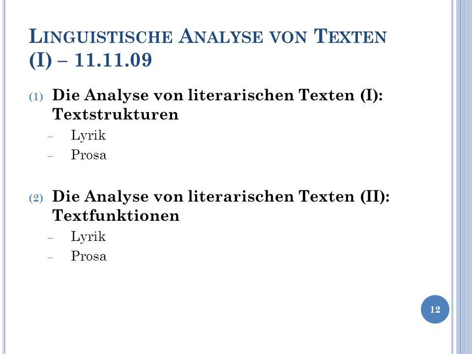 Linguistische Analyse von Texten (I) – 11.11.09