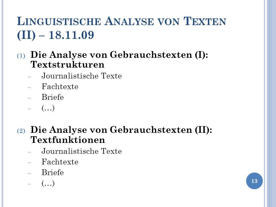 Linguistische Analyse von Texten (II) – 18.11.09