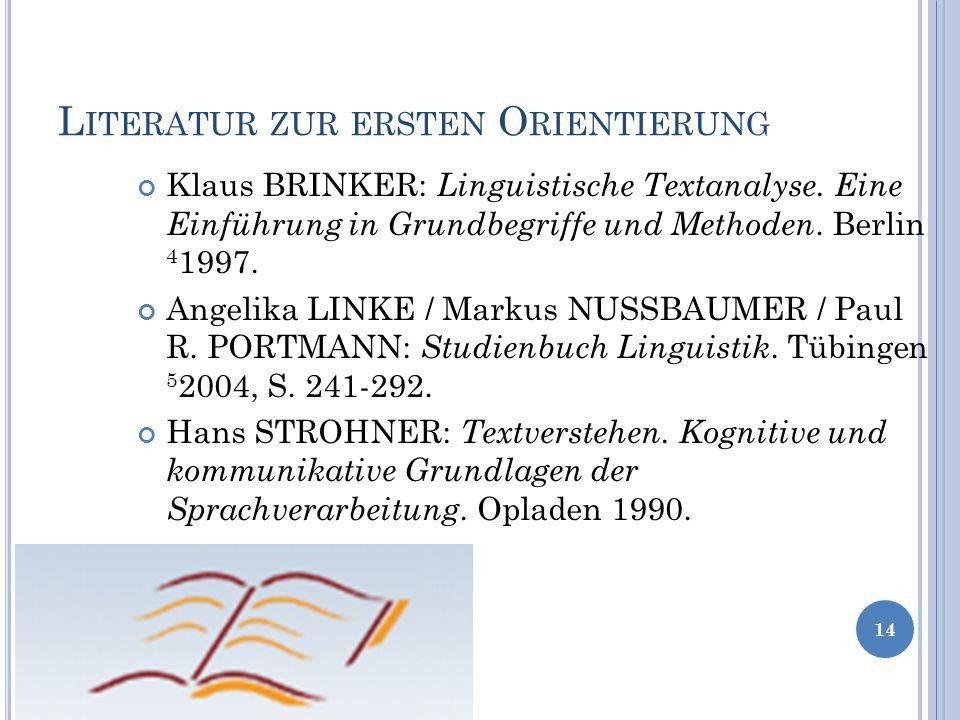 Literatur zur ersten Orientierung