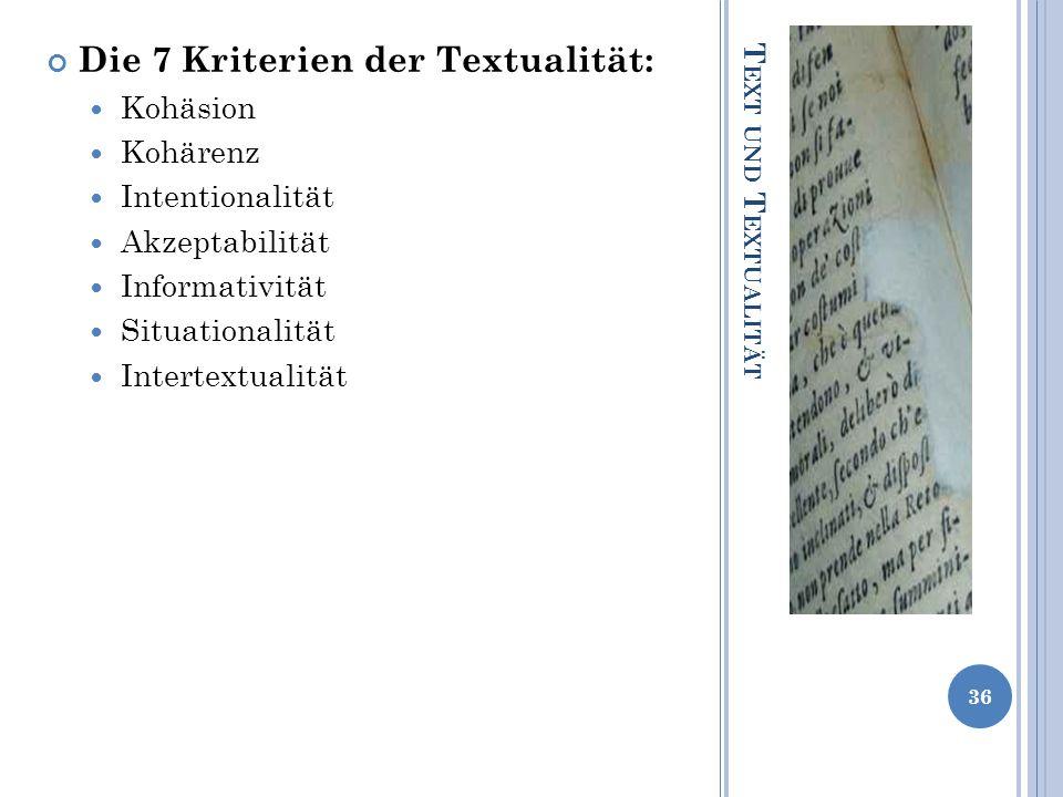 Die 7 Kriterien der Textualität: