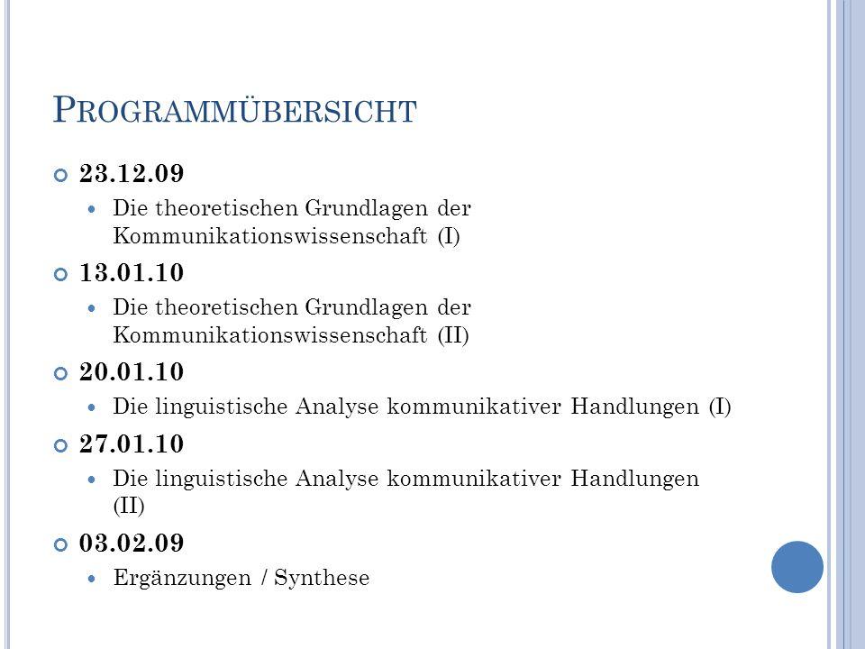 Programmübersicht 23.12.09. Die theoretischen Grundlagen der Kommunikationswissenschaft (I) 13.01.10.