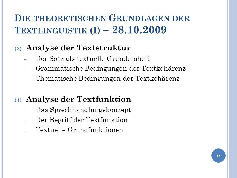 Die theoretischen Grundlagen der Textlinguistik (I) – 28.10.2009