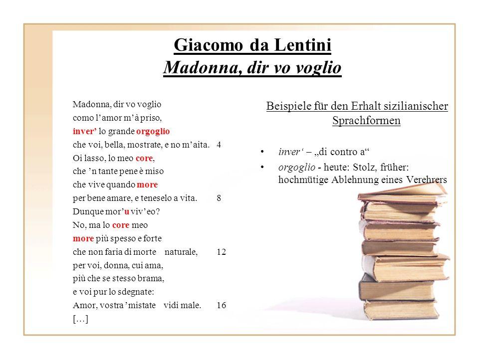 Giacomo da Lentini Madonna, dir vo voglio