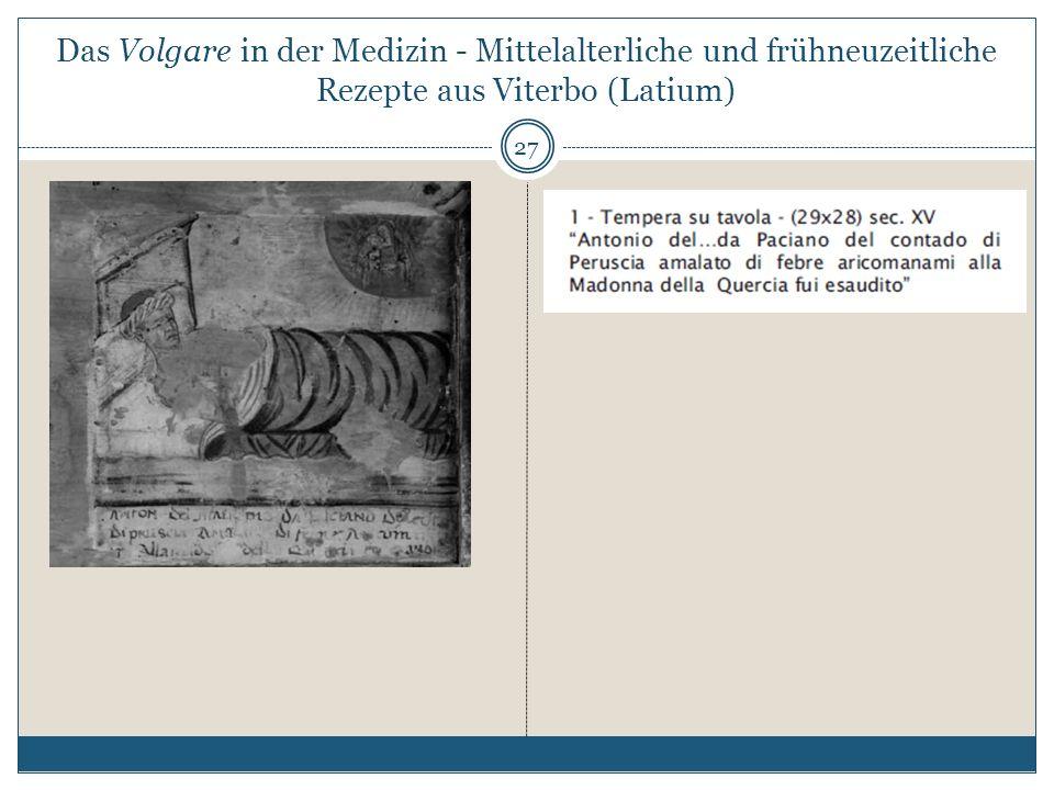 Das Volgare in der Medizin - Mittelalterliche und frühneuzeitliche Rezepte aus Viterbo (Latium)