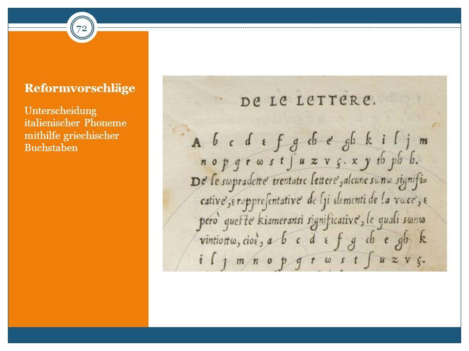 Reformvorschläge Unterscheidung italienischer Phoneme mithilfe griechischer Buchstaben