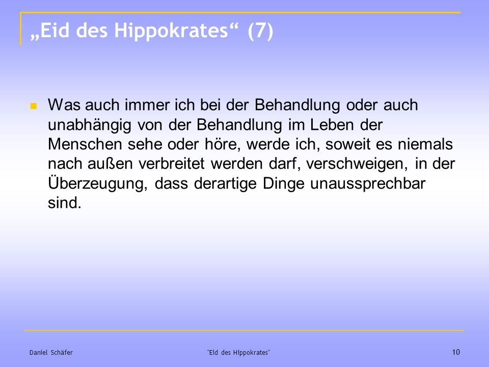 """Eid des Hippokrates (7)"