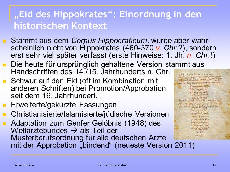 """""""Eid des Hippokrates : Einordnung in den historischen Kontext"""