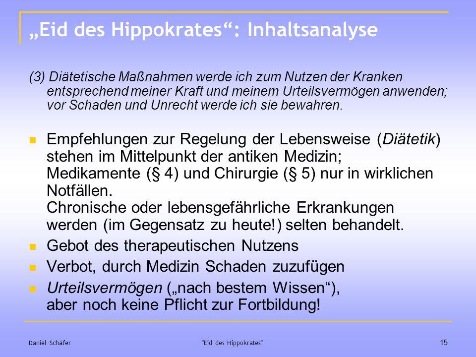 """Eid des Hippokrates : Inhaltsanalyse"