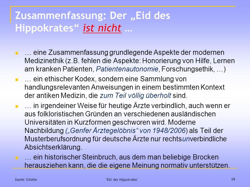 """Zusammenfassung: Der """"Eid des Hippokrates ist nicht …"""