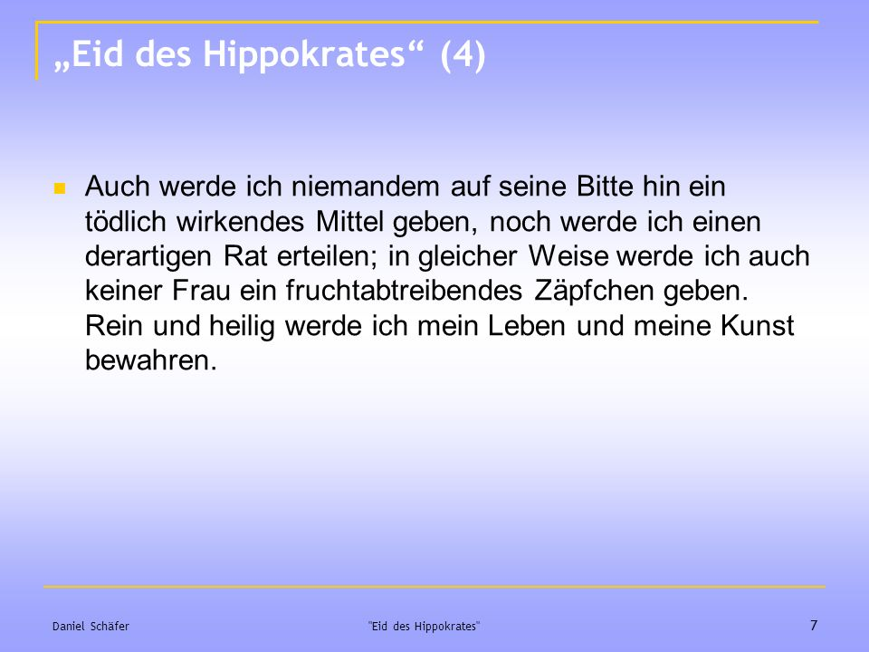 """Eid des Hippokrates (4)"