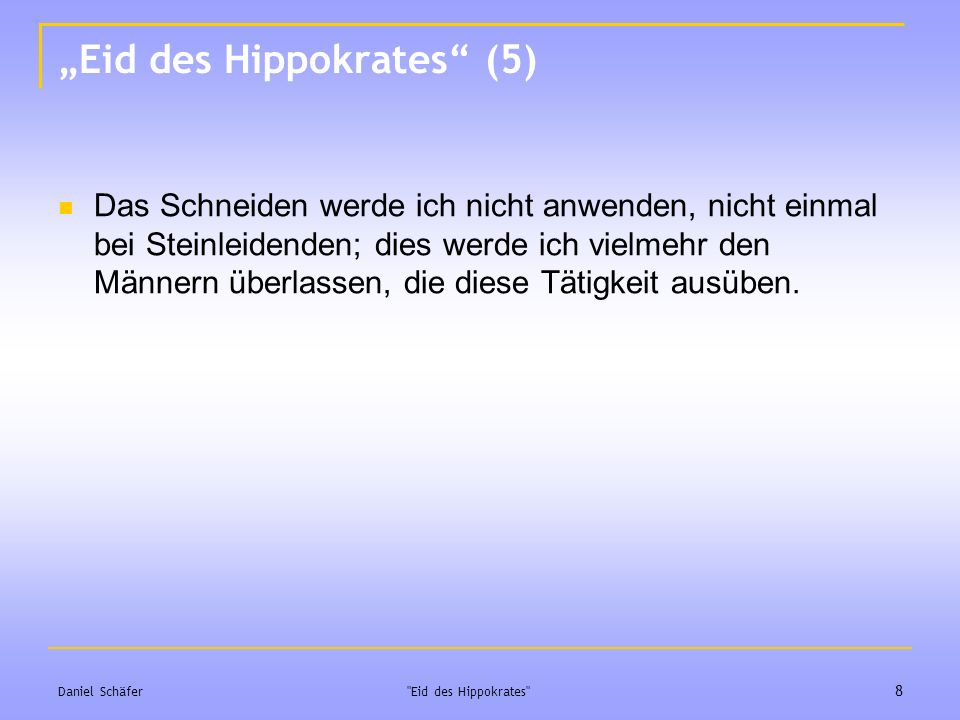 """Eid des Hippokrates (5)"