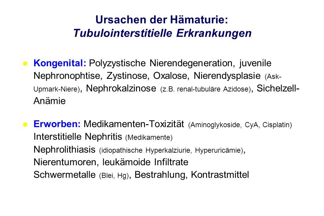 Ursachen der Hämaturie: Tubulointerstitielle Erkrankungen