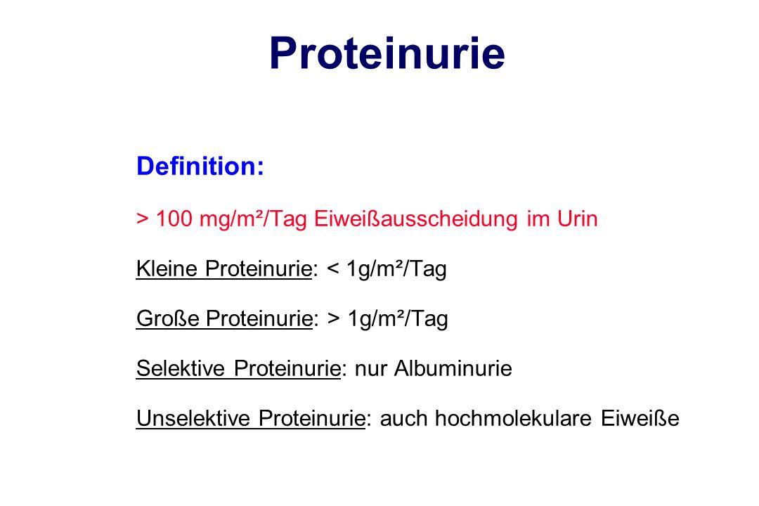 Proteinurie Definition: > 100 mg/m²/Tag Eiweißausscheidung im Urin