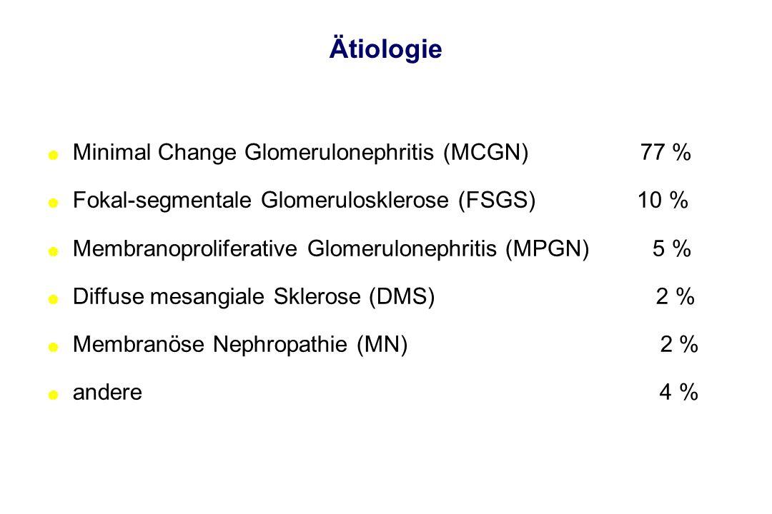 Ätiologie Minimal Change Glomerulonephritis (MCGN) 77 %