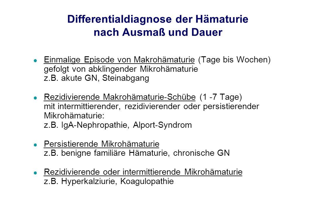 Differentialdiagnose der Hämaturie nach Ausmaß und Dauer