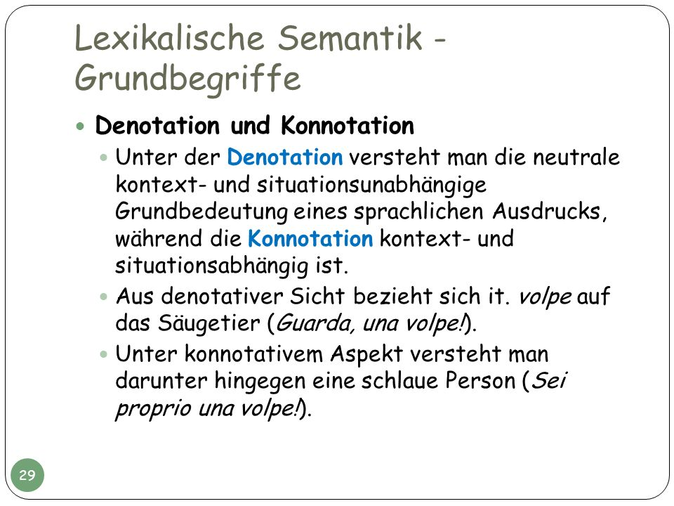 Lexikalische Semantik - Grundbegriffe