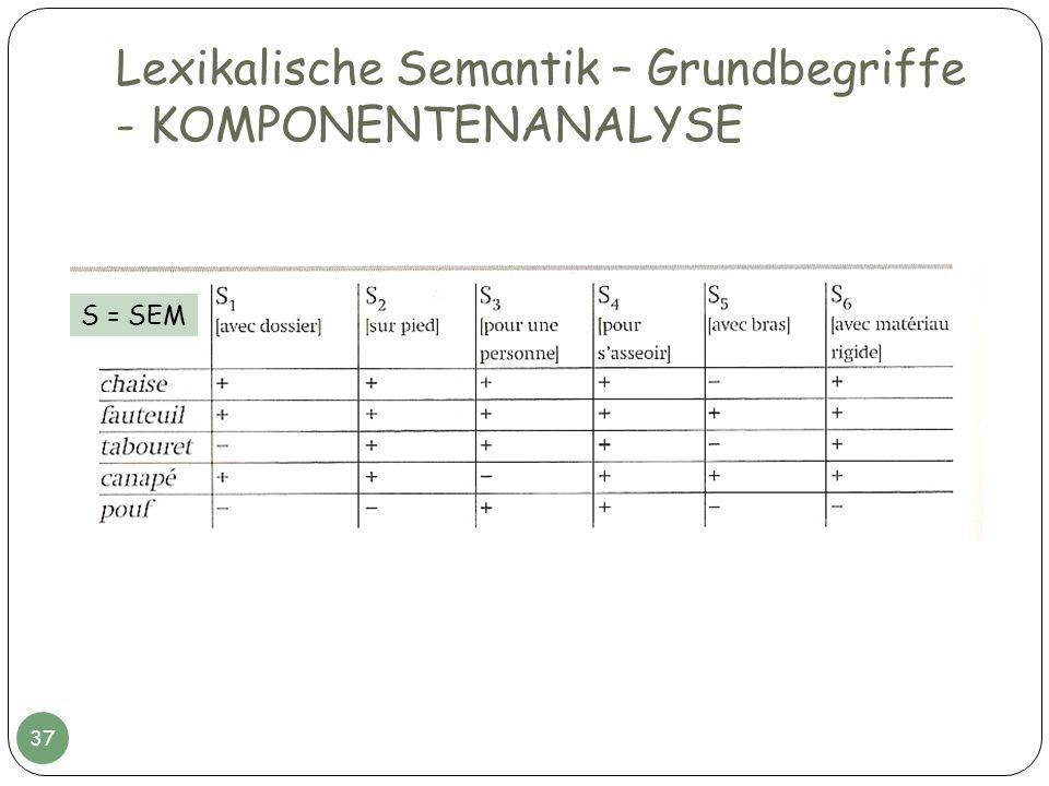 Lexikalische Semantik – Grundbegriffe - KOMPONENTENANALYSE