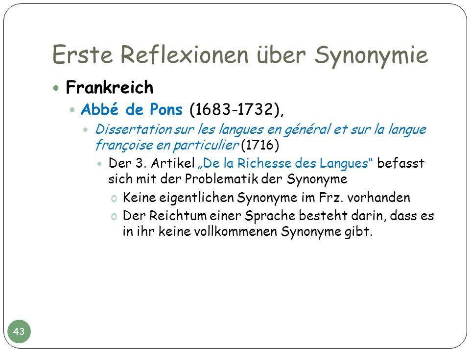 Erste Reflexionen über Synonymie