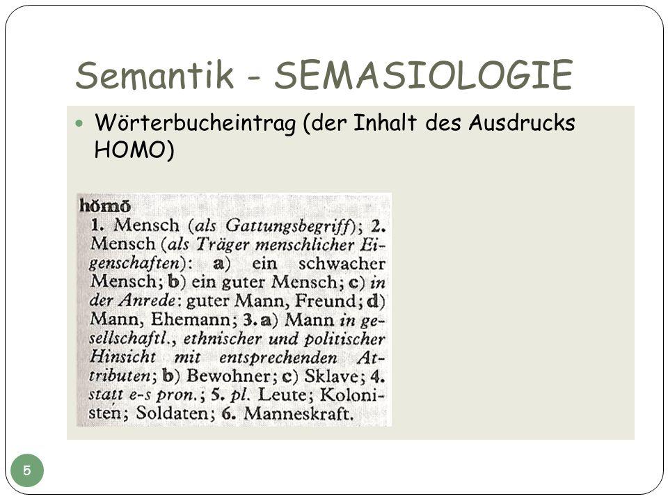 Semantik - SEMASIOLOGIE