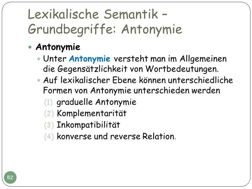 Lexikalische Semantik – Grundbegriffe: Antonymie