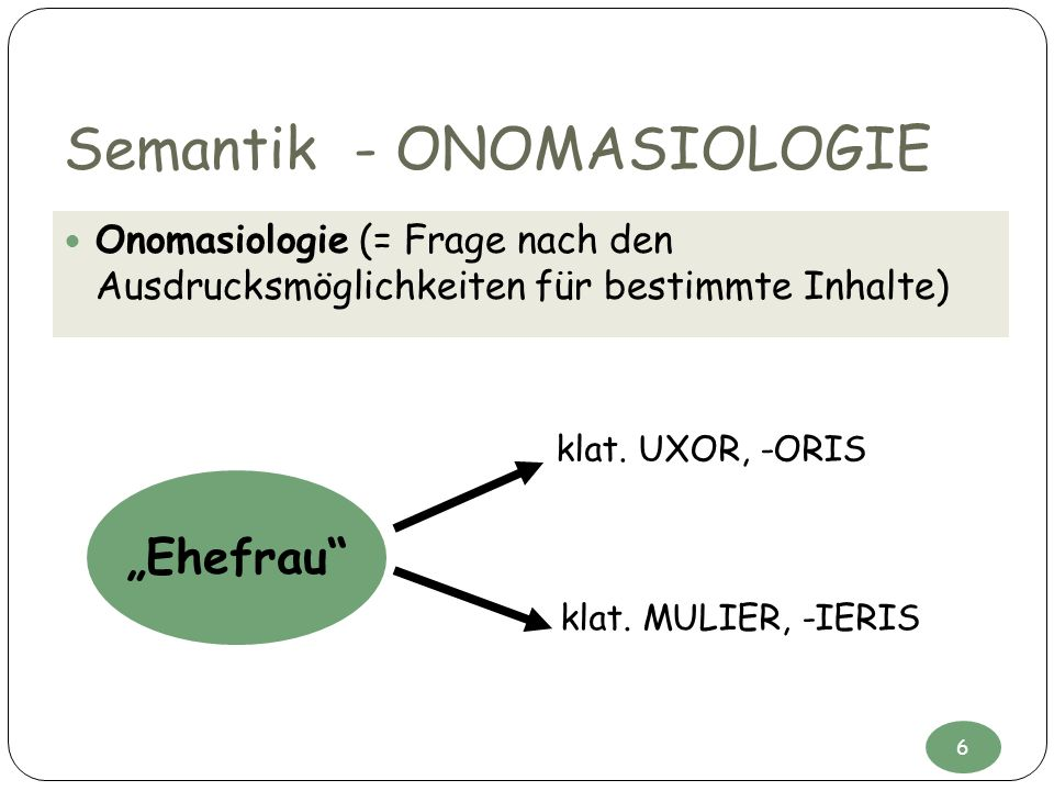 Semantik - ONOMASIOLOGIE
