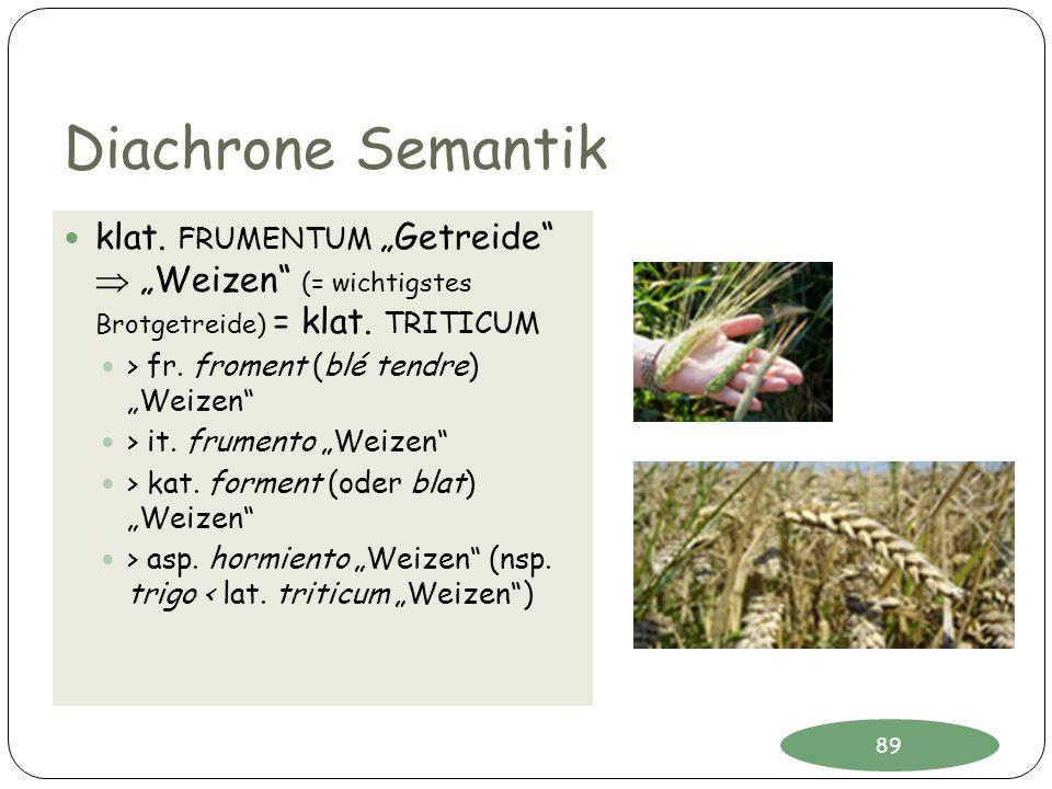 """Diachrone Semantik klat. FRUMENTUM """"Getreide  """"Weizen (= wichtigstes Brotgetreide) = klat. TRITICUM."""