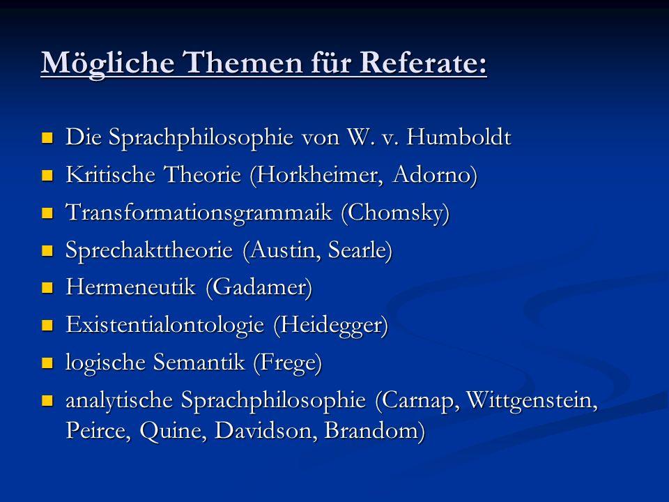 Mögliche Themen für Referate:
