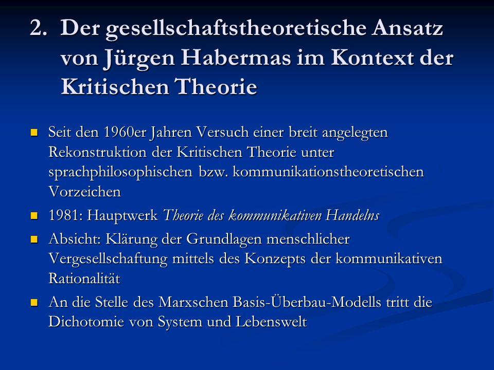 2. Der gesellschaftstheoretische Ansatz von Jürgen Habermas im Kontext der Kritischen Theorie
