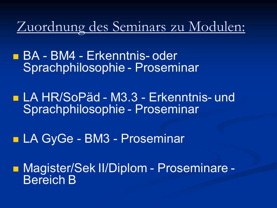 Zuordnung des Seminars zu Modulen: