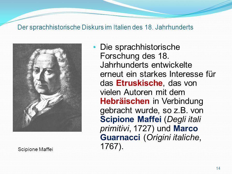 Der sprachhistorische Diskurs im Italien des 18. Jahrhunderts