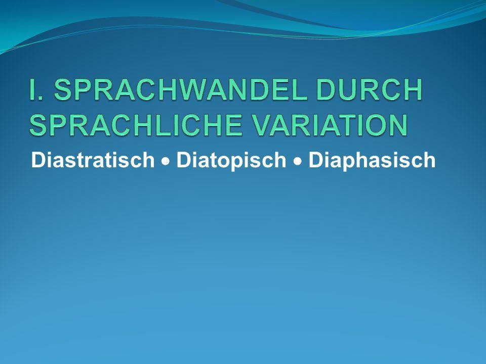 I. SPRACHWANDEL DURCH SPRACHLICHE VARIATION