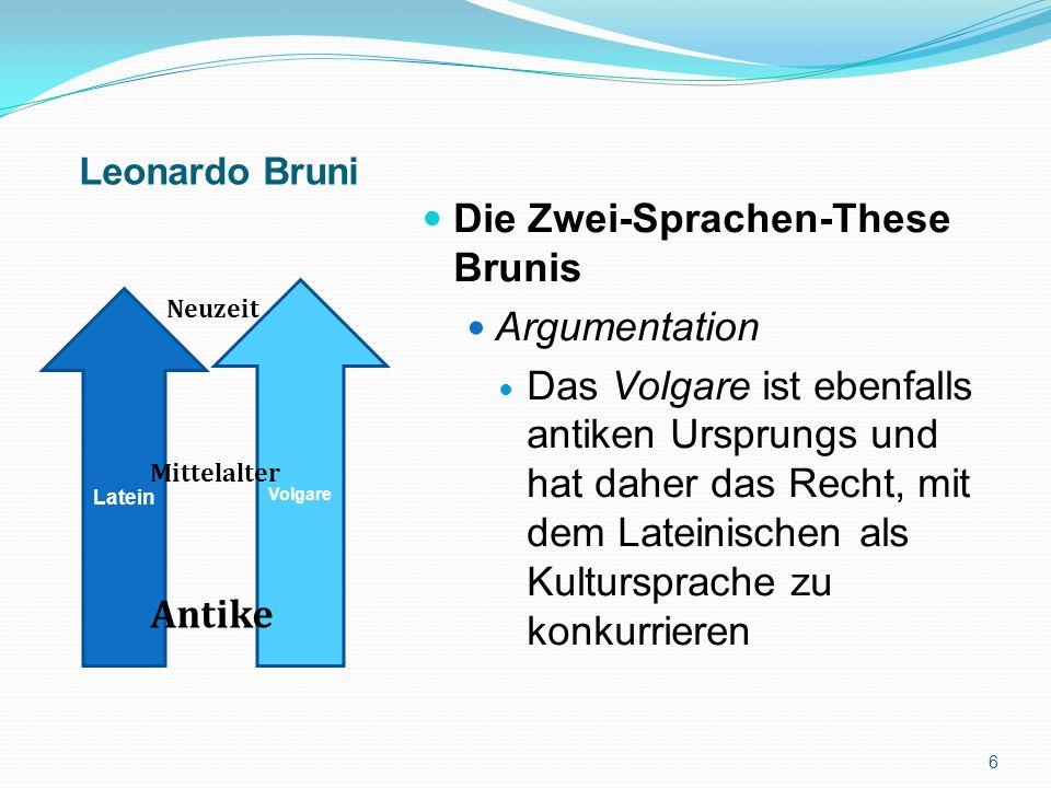 Die Zwei-Sprachen-These Brunis Argumentation