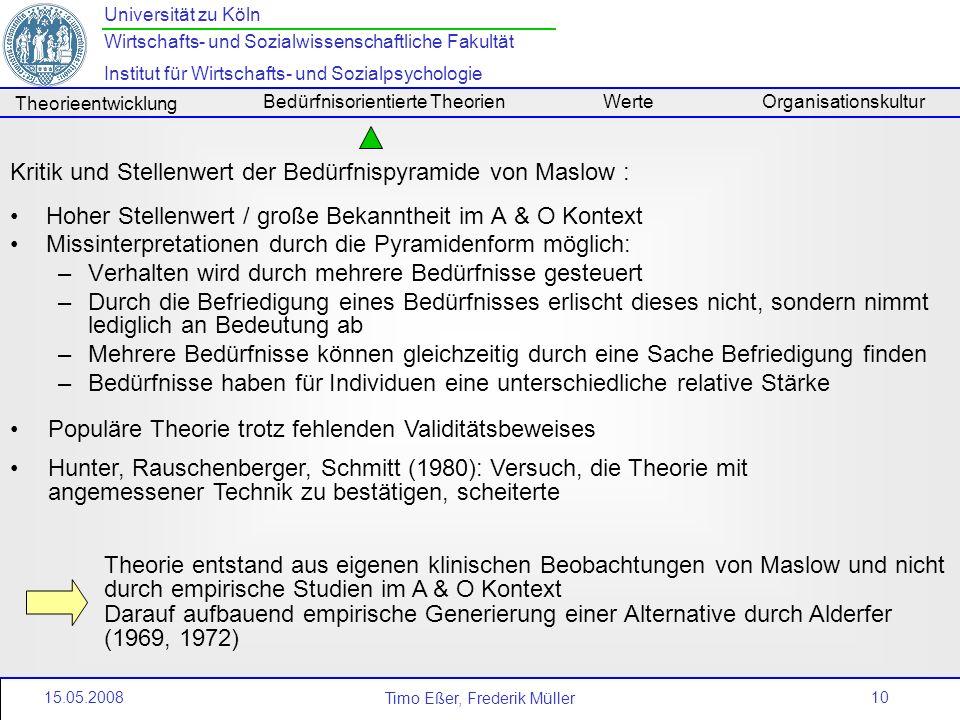 Kritik und Stellenwert der Bedürfnispyramide von Maslow :