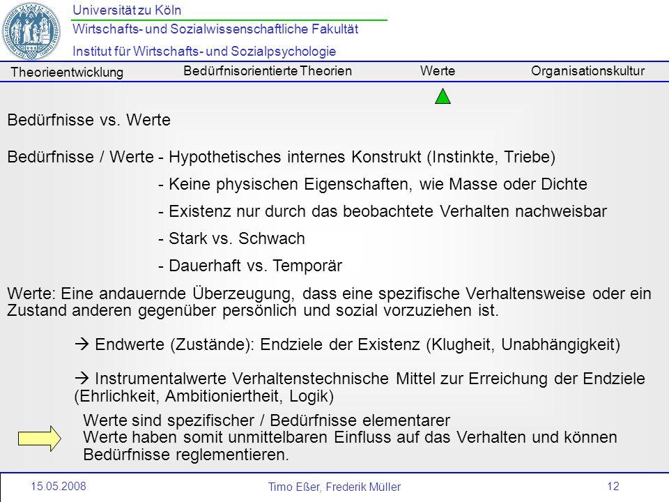 Bedürfnisse vs. Werte Bedürfnisse / Werte - Hypothetisches internes Konstrukt (Instinkte, Triebe)