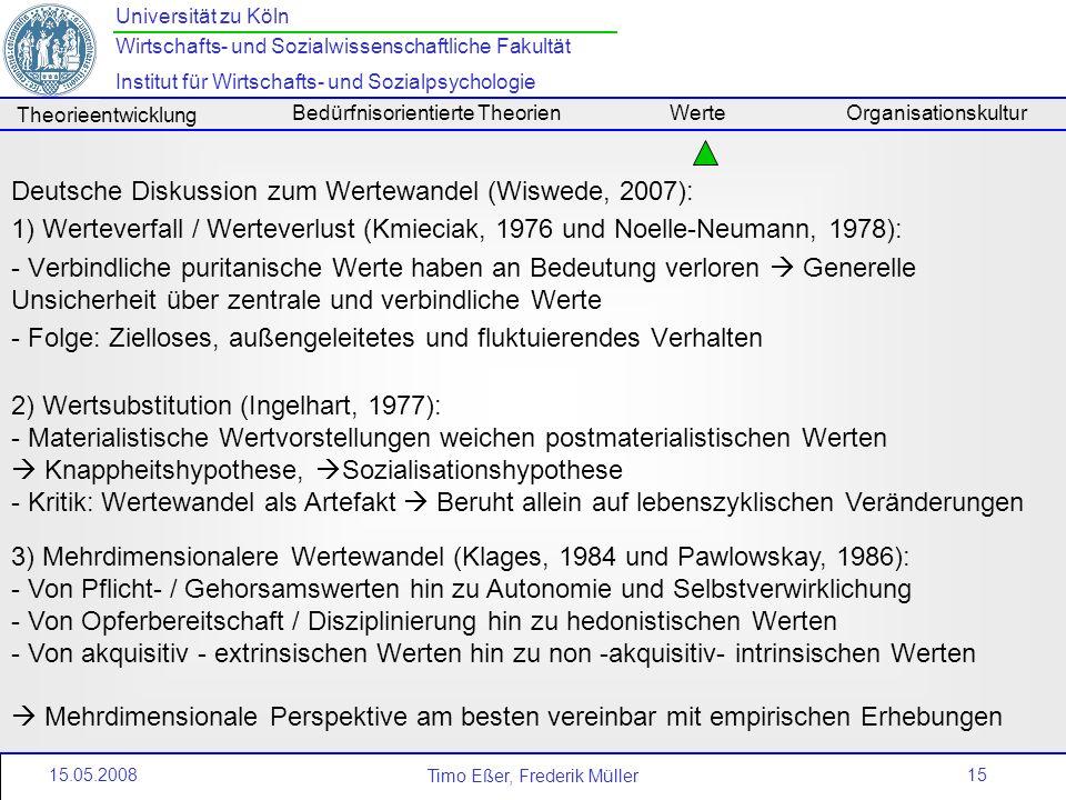 Deutsche Diskussion zum Wertewandel (Wiswede, 2007):